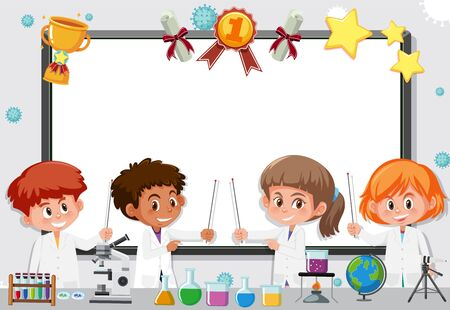 Banner template with science students working in the lab illustration