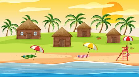 Scene with wooden houses by the beach at sunset illustration