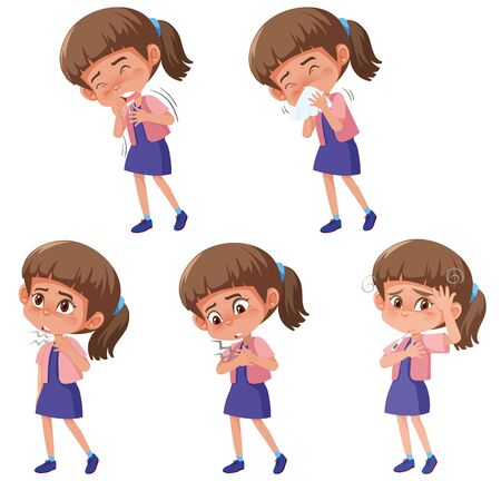 Set of girl with different symptoms on white background illustration