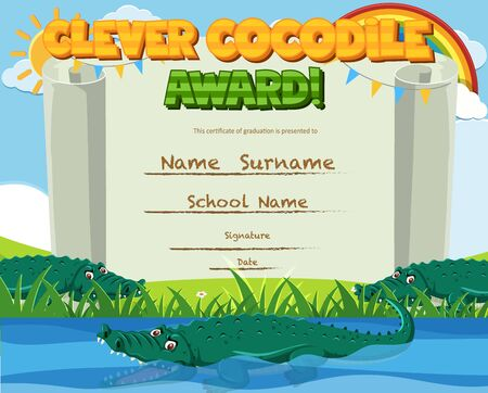 Certificate template for clever award with crocodile in the pond background illustration