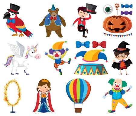 Set of animals and circus characters illustration