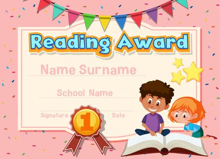 Certificate template for reading award with kids reading in background illustration