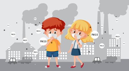Scene with boy and girl wearing mask in the city illustration