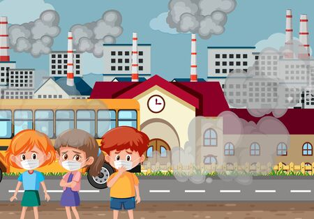 scene with three kids wearing mask in front of school illustration