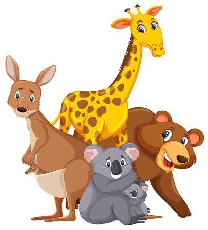 Different types of wild animals on white background illustration