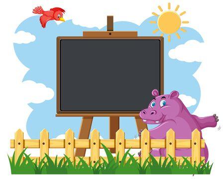 Blackboard template design with happy hippo in the garden illustration