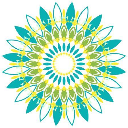 Mandala pattern design green and yellow color illustration