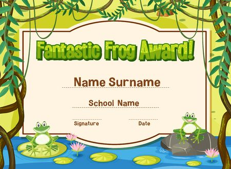 Certificate template for fantastic award with frogs in background illustration
