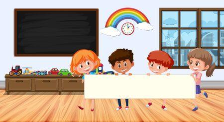 Frame design with board and kids illustration