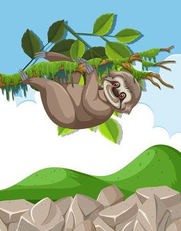 Scene with cute sloth hanging on the branch illustration Ilustração