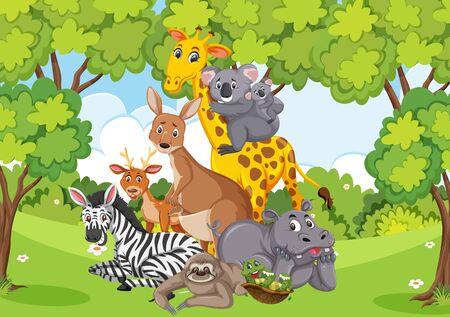 Scena con molti animali selvatici nell'illustrazione del parco Vettoriali