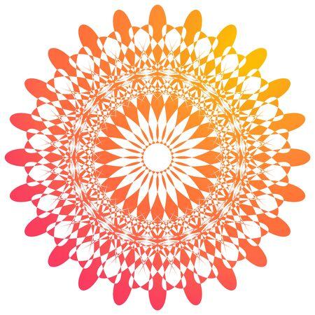 Mandala pattern design in orange color illustration