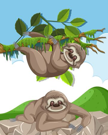 Scene with two cute slothes climbing on the rock and tree illustration Ilustração