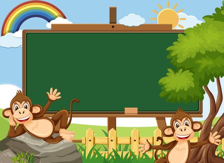 Blackboard template design with two happy monkeys in the park illustration