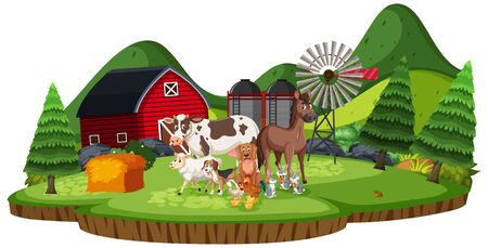 Scene with farm animals in the farmland illustration