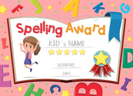 Certificate template for spelling award with english alphabets in background illustration Ilustración de vector