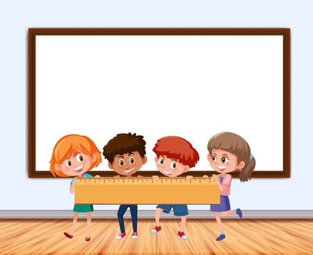 Frame design with board and children illustration