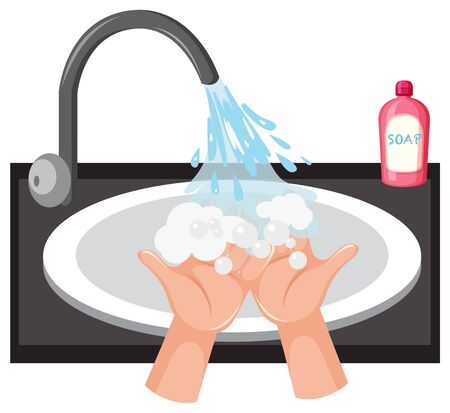Hand washing in the sink with soap illustration
