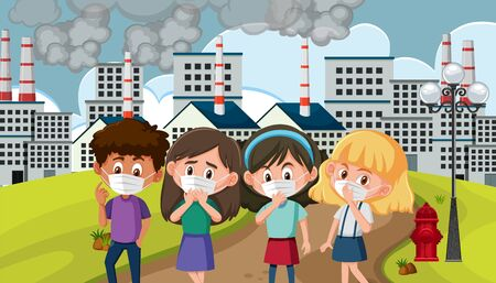 Scene with children wearing mask in the polluted city illustration