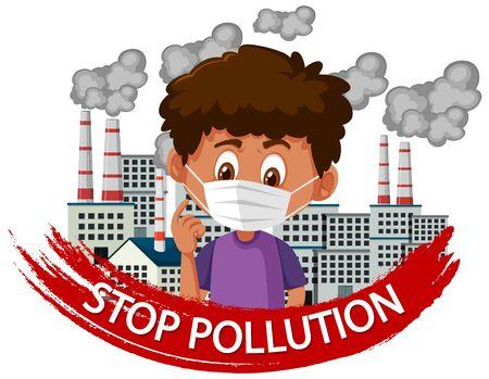 Poster design for stop pollution with boy wearing mask illustration Illustration
