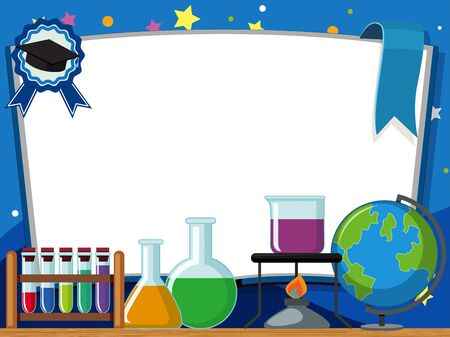 Banner template with lab equipments on the table background illustration