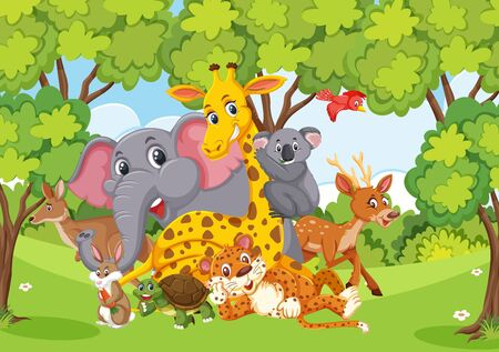 Scene with many wild animals in the forest illustration