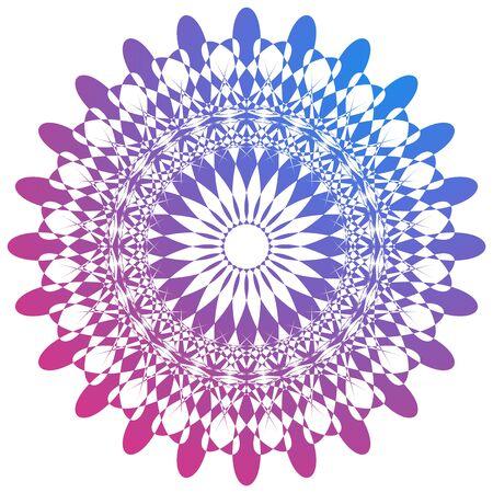Mandala pattern design in purple and blue colors illustration