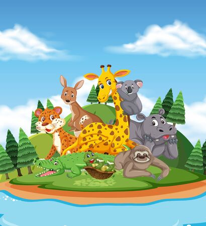 Scene with many wild animals in the park illustration Ilustrace