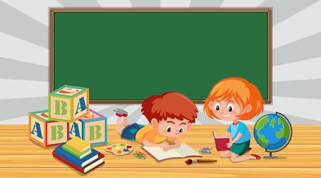 Border template with boy and girl reading books illustration
