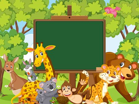 Blackboard template design with wild animals in the forest illustration