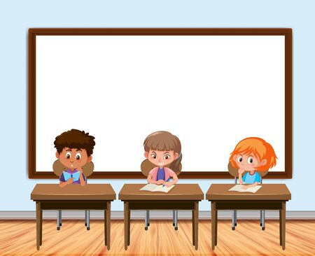 Frame design with board and students in classroom illustration