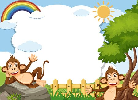 Banner template with two happy monkeys in the park illustration Illustration