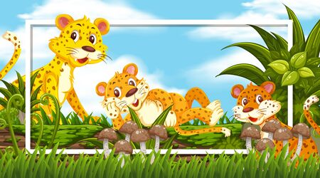Frame design with cute tigers on the log illustration