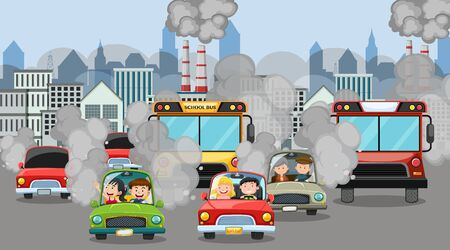 Scene with cars and factory buildings making dirty smoke in the city illustration
