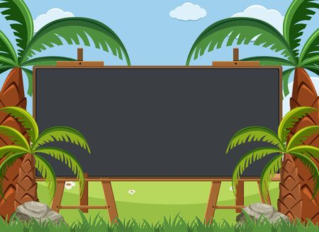 Blackboard template design with many palm trees in garden illustration Illustration