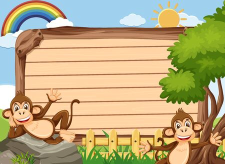Wooden sign template with two monkeys in the park illustration