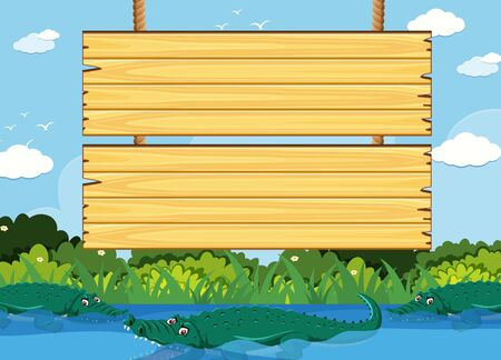 Wooden sign template with crocodile in the park illustration