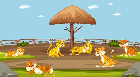 Scene with wild animals in the zoo at day time illustration