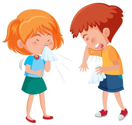 Sick boy and girl coughing on white background illustration