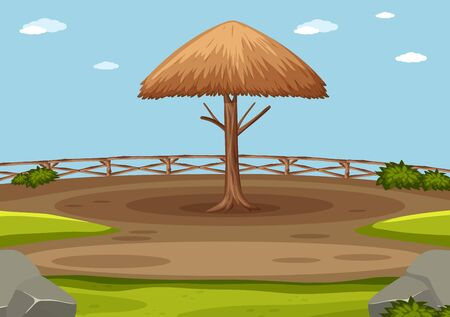 Scene with wooden umbrella in the park illustration