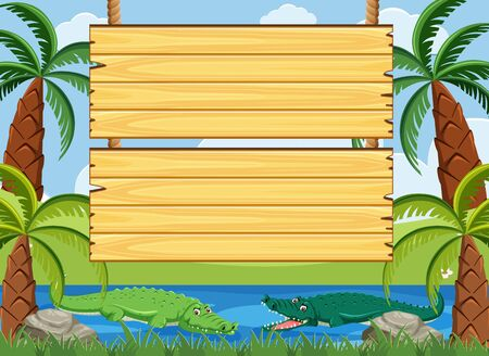 Wooden sign template with crocodile swimming in the river illustration