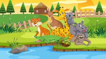 Scene with wild animals in the field by the river at sunset illustration