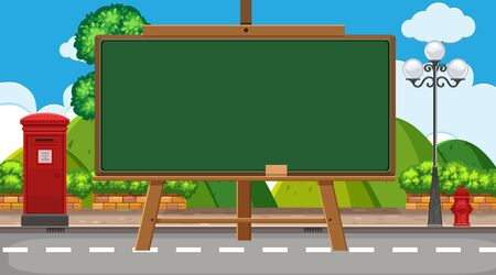 Border template with street background illustration