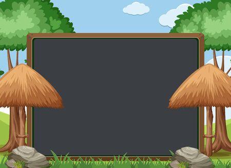 Blackboard template design with trees and umbrellas in garden illustration Ilustração