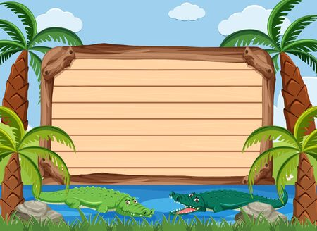 Wooden sign template with crocodiles in the river illustration Illustration