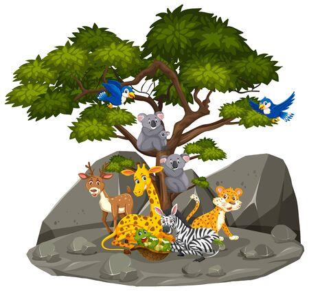 Scene with wild animals in the rocky mountain illustration Ilustração