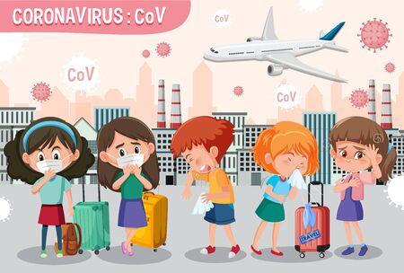 Scene with many people getting sick from coronavirus illustration