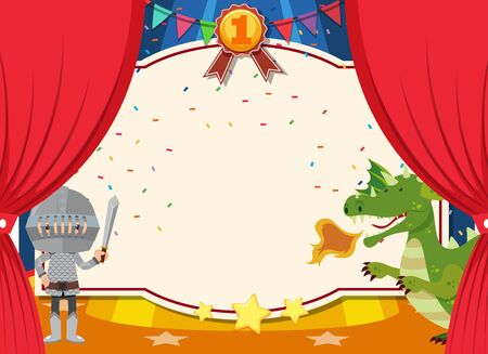 Banner template with knight and dragon on the stage illustration Illustration