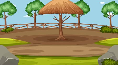 Background scene with big wooden umbrella and many trees illustration