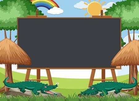 Blackboard template design with crocodiles in the park illustration